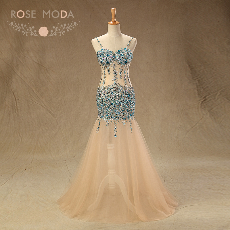 Rose Moda Sexy Blue Crystal   Prom     Dress   2019 Reflective   Dresses