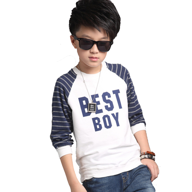 Kids O-neck Stripe T-shirts for Boys Cotton Tops Teenager Spring Tees Big Size Children Letter Clothing Autumn Infants Casual T