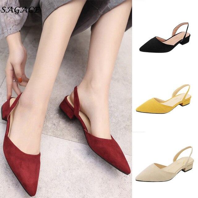 CAGACE Kadın Pompaları Ayak Bileği Kayışı Kalın Topuk 2018 Ayakkabı Kadın Kare Ayak Orta Topuklu Elbise Iş Rahat Bayan Ayakkabı SIZE35-39