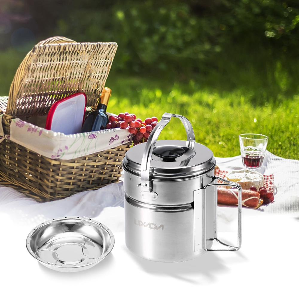 Image 5 - Lixada Stainless Steel Bail Handle Camping Pot with Internal Steaming Dish Foldable Handle Outdoor Tableware-in Outdoor Tablewares from Sports & Entertainment