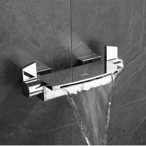 HTB1ITQyXfb2gK0jSZK9q6yEgFXaJ Wall Mounted Brass Bathroom Gold Waterfall Bathtub Faucet set Square hand held Shower Faucet Sets Bathtub Faucet Set