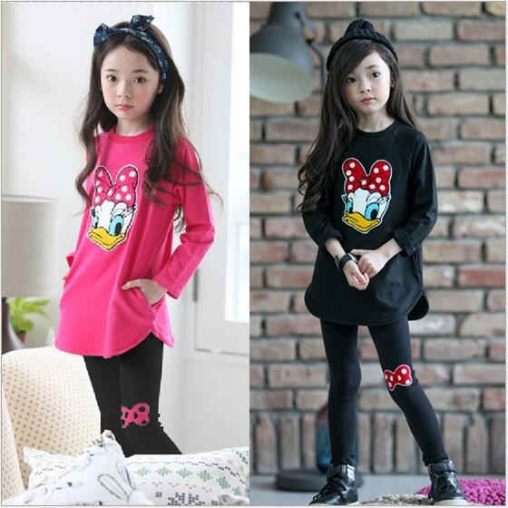 New Baby Girls apģērbu komplekti Rudens kostīms meitenēm Apģērbs Donald Duck Apģērbs garām piedurknēm meitenēm