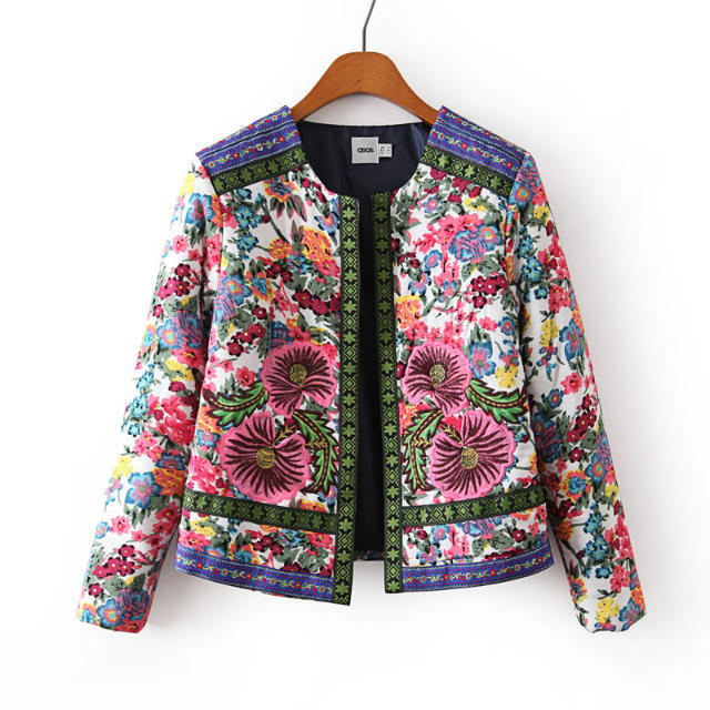 2017 autumn new fashion embroidery flower print short design wadded jacket, female casual coats vintage cotton-padded outwear