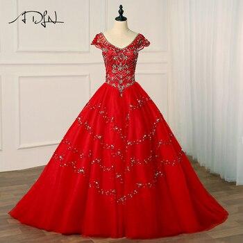 0d3149084 ADLN 2018 vestidos de lujo de Quinceanera v-cuello Tulle Sparkling  rebordear cristales dulce 16 vestidos vestido de fiesta para 15 años