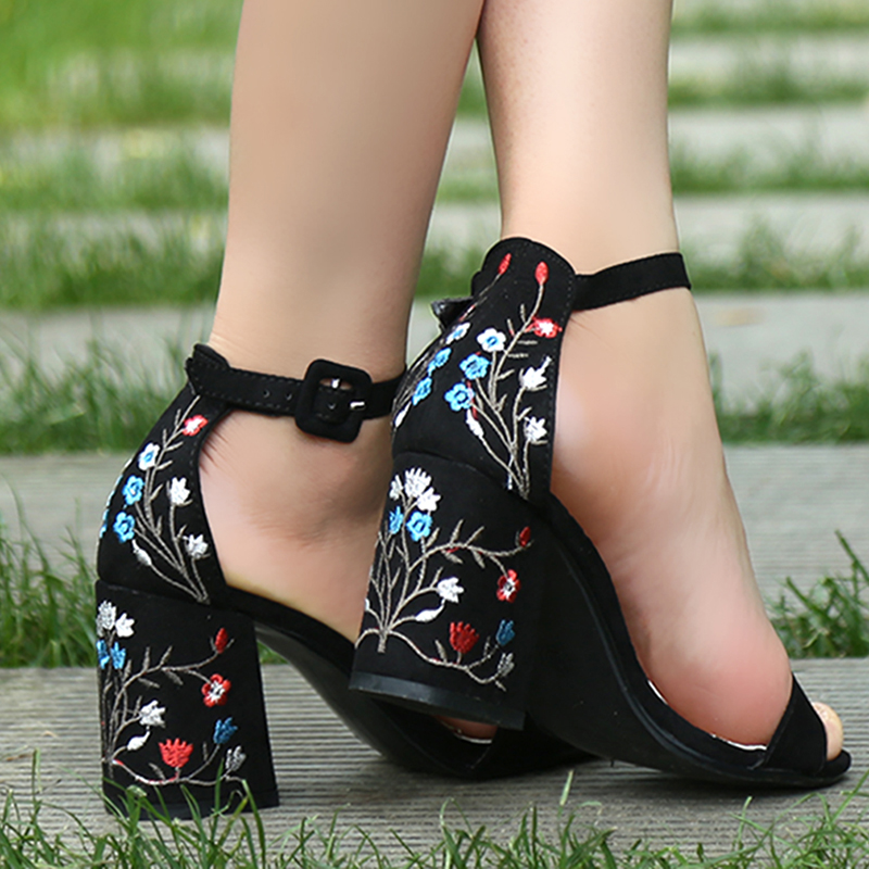 Suede Leather Shoes Woman Sandals Embroidery Floral High Heel Women Sandals Ethnic Floral Sandalias Zapatos Mujer Wedding Shoes 3