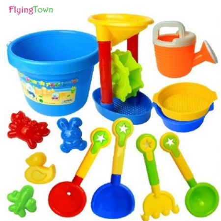 13Pcs high quality Beach Toys Bucket Rakes Sand Wheel Watering Outdoor Beach Play Bath Toys For Children Gifts
