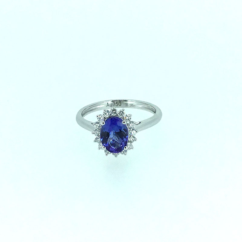 ANI 18K White Gold (AU750) Women Wedding Ring Certified I/SI 1.135 ct Oval Cut Tanzanite Diamond Halo Ring Enagement Jewelry au750 white gold ring diamond oval cut sapphire ring in 18k solid gold for sale wu261