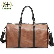 New Trend Mens PU Leather Sports Bag Outdoor Gym Sport Bag Handbag Tote Bag Traval Duffle Bags