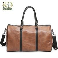 New Trend Mens PU Leather Sports Bag Outdoor Gym Sport Bag Handbag Tote Bag Traval Duffle