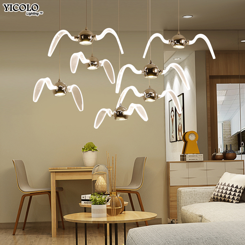 Nordic Pendant Lights for dining room modern minimalist living room lamp bedroom gull personality led lamps home fixture nordic post modern bed living room led pendant lights creative personality wood minimalist dining room study decor lamp fixtures