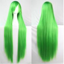 100Cm  Anime Green Cosplay Wigs Women Ladies Long Straight Synthetic Hair Wig Christmas Halloween Costume Peruca Perucas W004