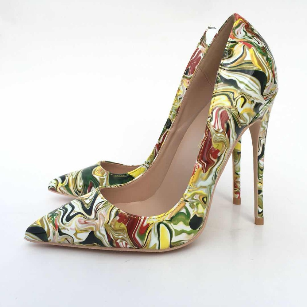 Keshangjia New Printed PU Leather High Heel Shoes Woman 12cm Sexy Pumps Shoes 2018 Pointed Toe