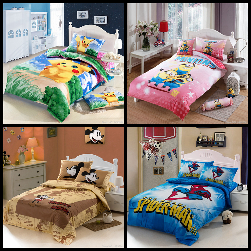 Aliexpress.com : Buy Cartoon Kids Minions/Car/ Pokemon/ Totoro/ Pikachu / Avengers /spider/ Minnie Mouse Bedding Set /bed Set Bedclothes From  Reliable ...