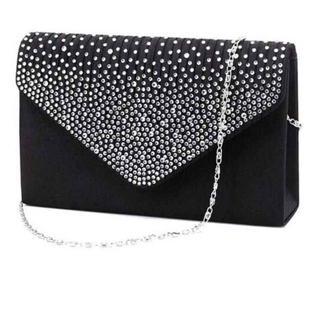 b9f52b4e5b2a Fashion Envelope Bag Lady Large Evening Satin Bridal Diamante Ladies Clutch  Bag Party Prom Handbag Day