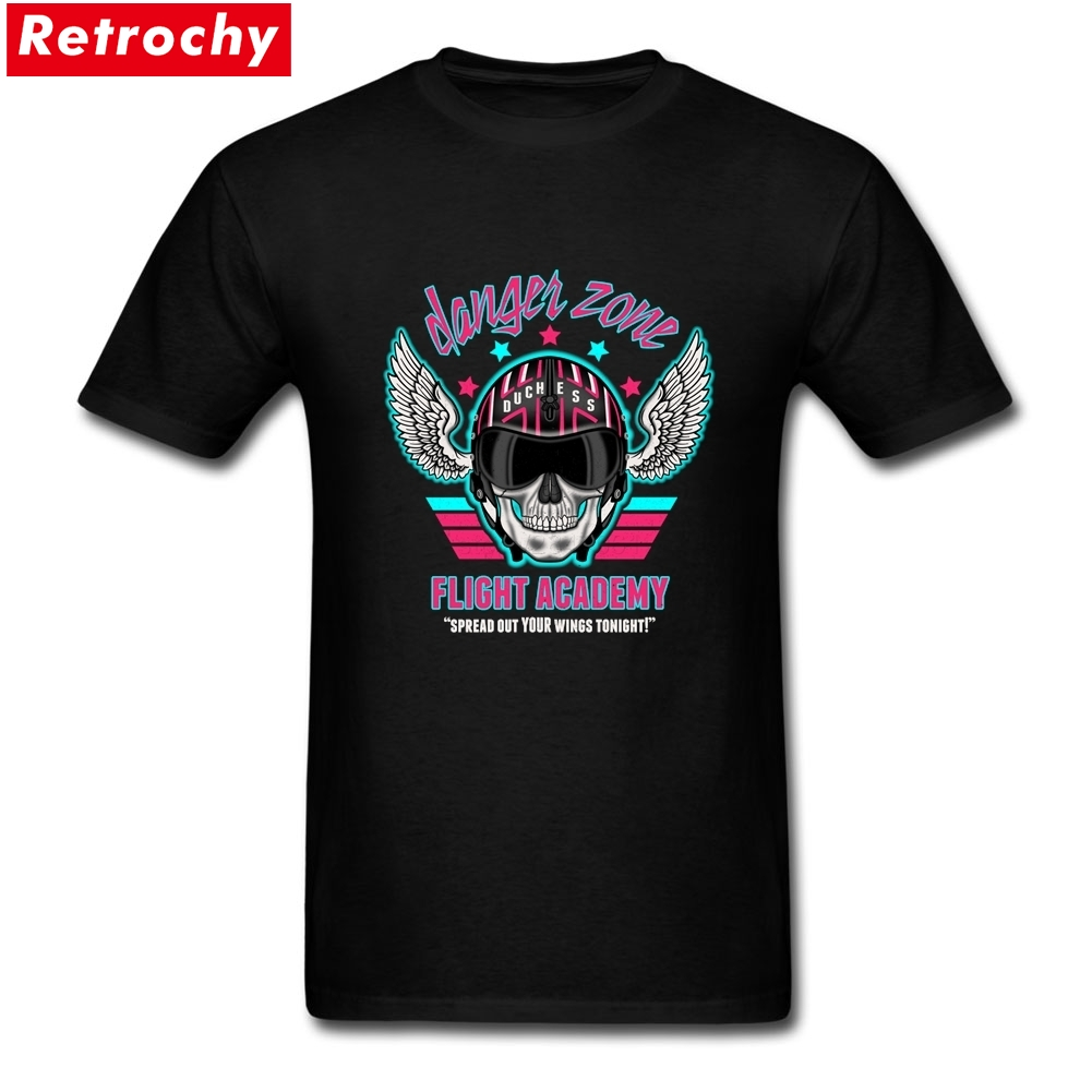 Danger Zone Flight Academy Merchandise Tees Short Sleeve Mens Funny Skull T Shirt 100% Cotton Plus Size Tees