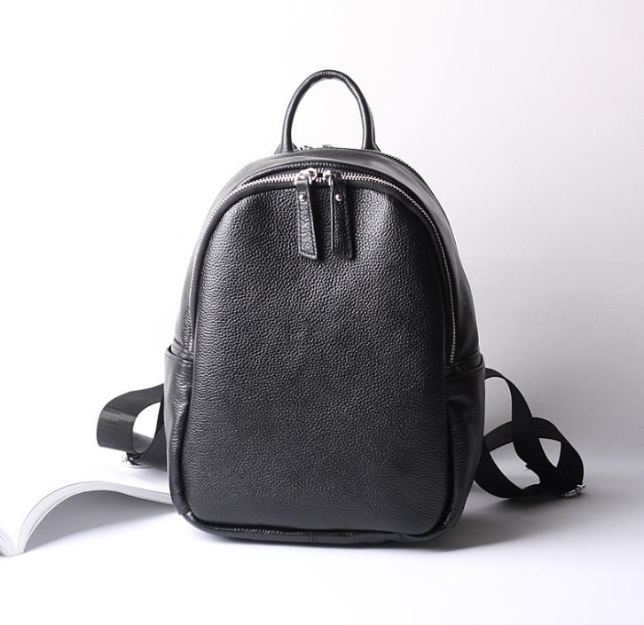 2017 European and American Style Genuine Leather Backpacks Simple Casual Solid Shoulder Bags Hot Selling Fashion Backpacks