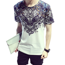 2017 Summer New Fashion T Shirt Men Short Sleeve O-Neck slim fit Cotton funny brand clothing male printed tshirt homme white 5XL