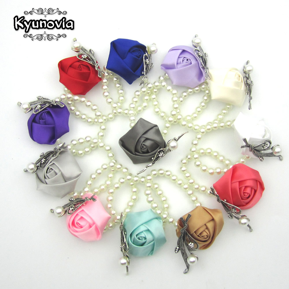 Kyunovia Custom Made Flower Bracelet Prom Hand Flowers Wedding Boutonnieres Wedding Wrist Band Satin Rose Wrist Corsage Z05