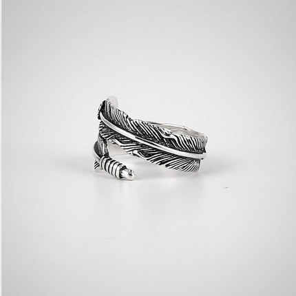 Bijoux אופנה S925 כסף שחור נוצת טבעות לנשים חג המולד מתנות מתכוונן טבעת גבירותיי סטרלינג כסף תכשיטי Anillos