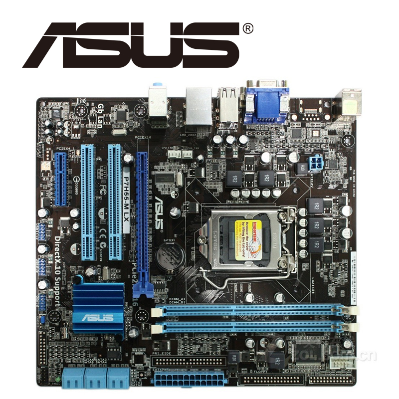 Asus P7H55-M LX Desktop Motherboard H55 Socket LGA 1156 i3 i5 i7 DDR3 16G ATX UEFI BIOS Original Used Mainboard On Sale asus p8b75 m lx desktop motherboard b75 socket lga 1155 i3 i5 i7 ddr3 16g uatx uefi bios original used mainboard on sale