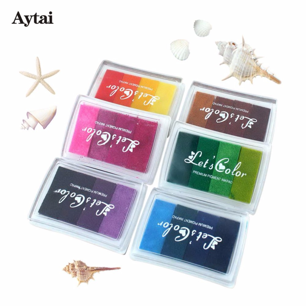 Aytai 5pcs Hot Sale Rubber Stamps Ink Pad Multi Colours DIY Wedding Anniversary Birthday Party Favors