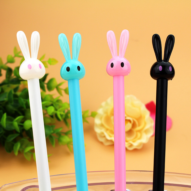 4 pieces/Lot Cute Bunny Rabbit Ears Design Gel Pens Colorful Pen Candy Color Stationery Material Office School Supplies 1pc lot cute rabbit design memo pad office accessories memos sticky notes school stationery post it supplies tt 2766