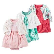 Весенняя одежда для маленьких девочек боди+ Куртки одежда для малышей комбинезон для младенцев; Roupa; хлопковая одежда для малышей для детей от 0 до 24 месяцев платье
