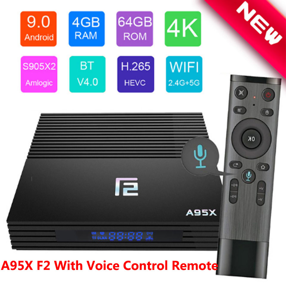 Android TV BOX A95X F2 décodeur commande vocale 4K 2.4G & 5G double bande WIFI Bluetooth LAN USB3.0 HDMI 4G 64G TV Box Android 9.0