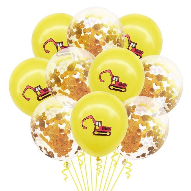 10 sztuk pojazd budowlany koparka lateksowe balony konfetti zabawki balony dekoracje na imprezę urodzinową dzieci boże narodzenie nowy rok Globos