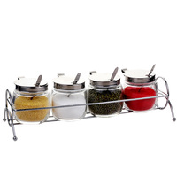 Kitchen supplies glass seasoning set with a stand spoon seasoning box set of 4 pieces of glass seasoning bottles