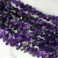 Natural Genuine Dark Purple Amethyst Crystal Quartz Hand Cut Faceted Nugget Free Form Loose Big Beads 15 04335