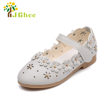 J Ghee PU Leather Shoes For Girls Toddler Baby Girl Flats Flowers Cut-outs Princess Kids Shoes Children Girls Sweet Floral Shoes