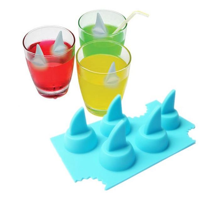 Пейте льда лоток Прохладный плавник акулы Форма Ice Cube Замораживание Mold льда плесень