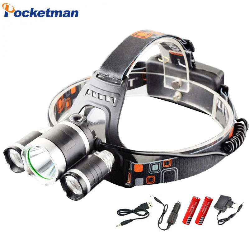 ZK35 3 LED Headlight XM-L T6 11000 Lumens Head Lamp High Power LED Headlamp +2pcs 18650 Battery Charger+Car charger