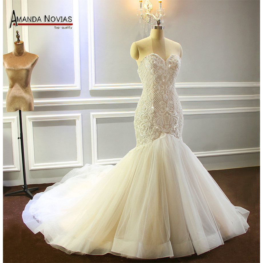 2018 Champagne Wedding Dress Mermaid Full Beading Shinny