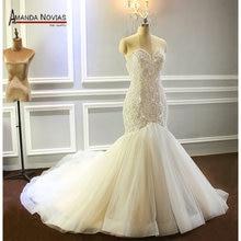 2020 Champagne Wedding Dress Mermaid Full beading shinny Bridal Dress Custom Order Size