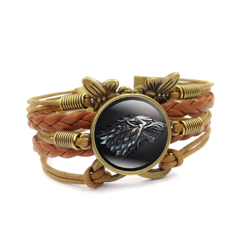 Wolf Charm Bracelet: Game Of Thrones Charm Bracelet Stark Wolf Glass Cabochon