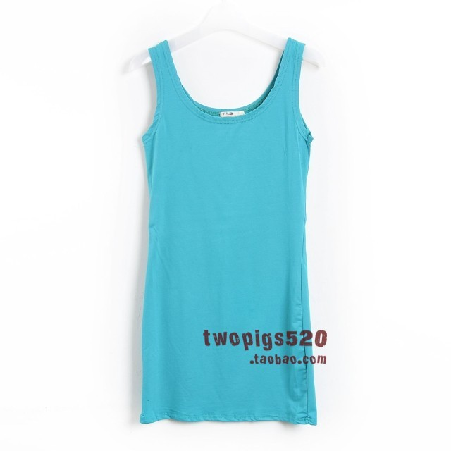 Fashion double u candy color cotton tank dress slim hip skirt small vest one-piece dress basic shirt female