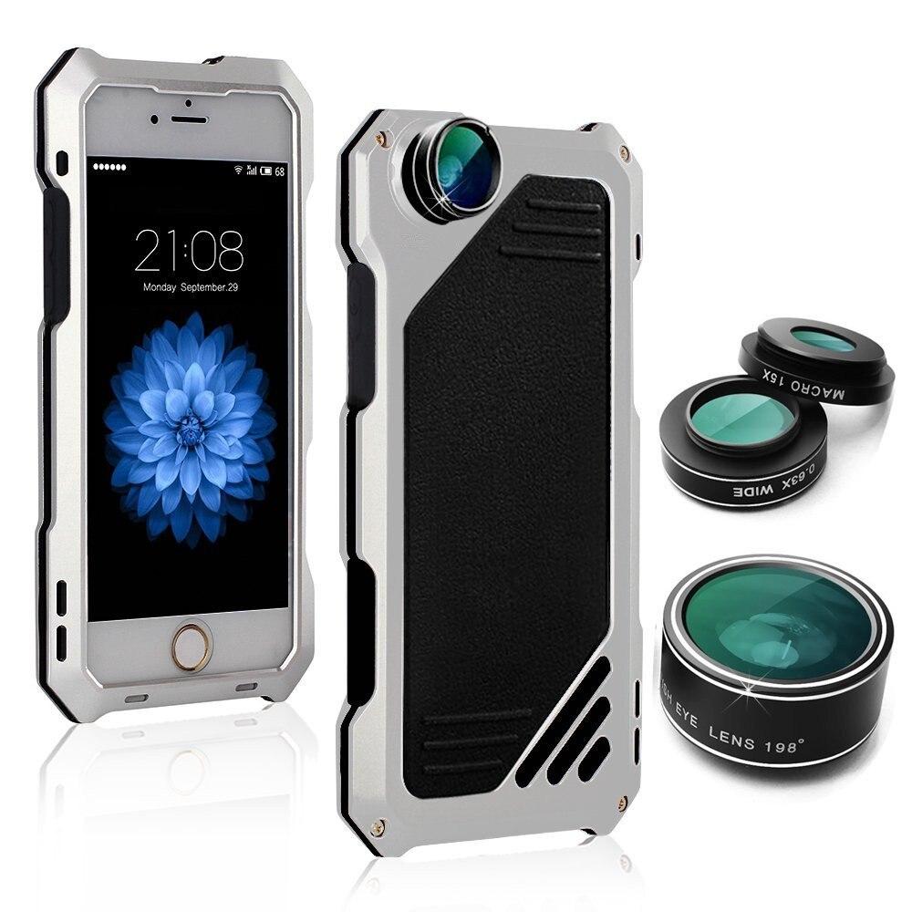 imágenes para Para el iphone 6 más Caso de la Alta Calidad con lente HD de Metal + de silicona A Prueba de Polvo Anti-golpe de la Cubierta de Protección para el iphone 6 s caso plus