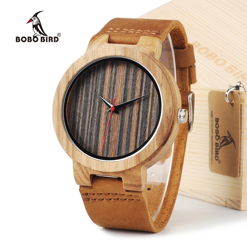 BOBO BIRD C17 Men's Top Brand Design Quartz Watch Luxury Natural Wooden Watches With Real Leather Strap bobo bird v o29 top brand luxury women unique watch bamboo wooden fashion quartz watches
