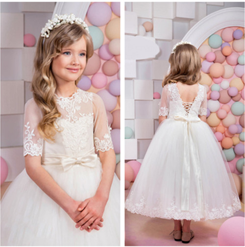 New White Ivory Flower Girls Dress Lace Tulle with Sash Short Sleeve Custom Pageant Graduation Costume First Communion Gown домашние халаты mia mia домашний халат yesenia xs