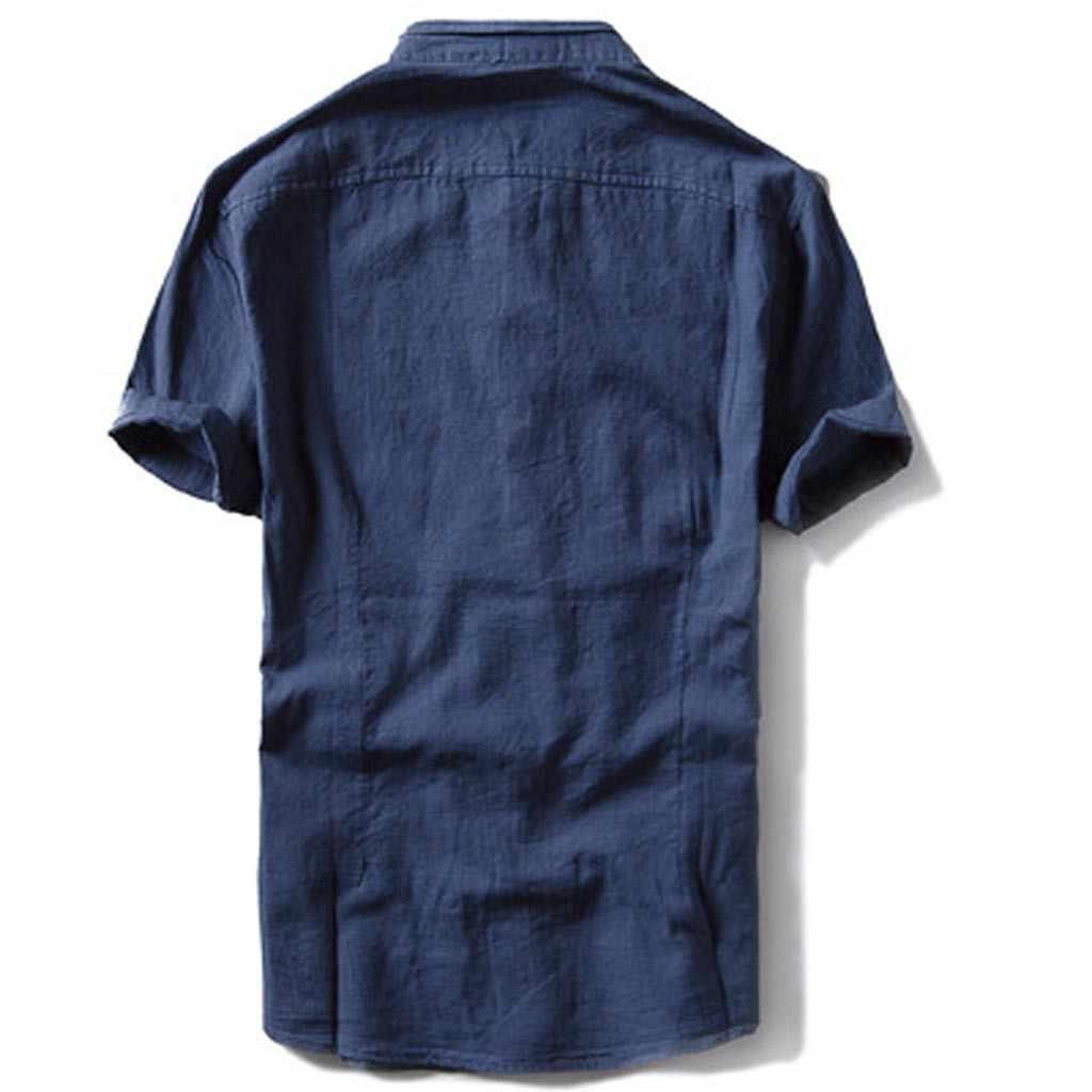 2019 メンズ因果シャツ半袖トップボタンリネン無地ルーズブラウス S-2XL カジュアル男性ドレスシャツカミーサ masculina