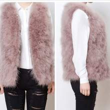 a149a0bca860 100% Real Fur Gilets Hand-knitted Natural Ostrich Feather Fur Waistcoats  Quality Genuine Fluffy Fur Fever Vest Charcoal Grey