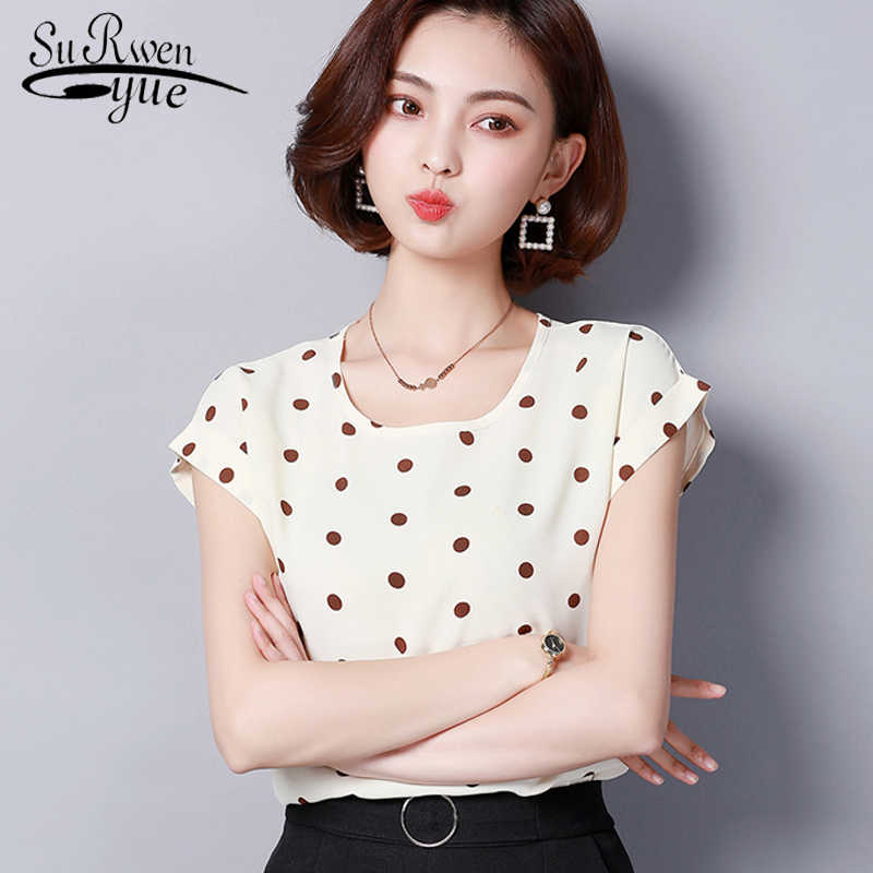 fe01c787829 ... fashion 2019 chiffon women blouse shirt summer short sleeve print  women s clothing plus size o- ...