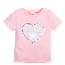 Reversible Sequin Summer Cotton Short Sleeves T-Shirts For Girls Tops & Tees Kids Clothes Sequins Girl T Shirts