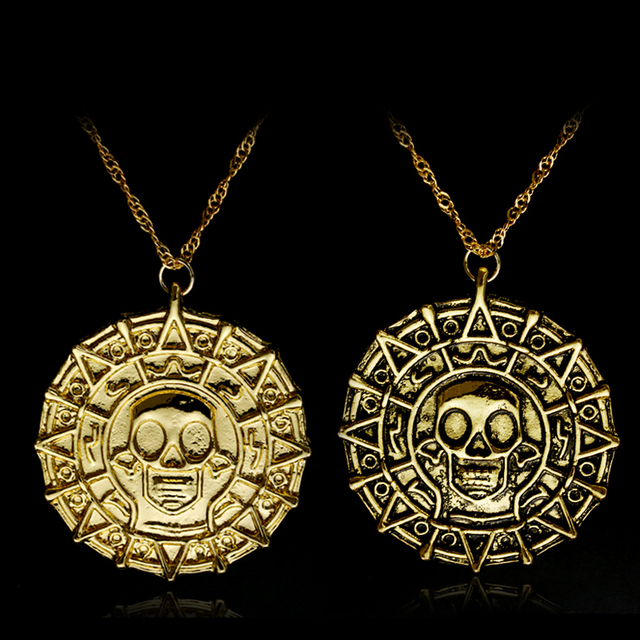3 Style Pirates of the Caribbean Aztec gold necklace Mens skull