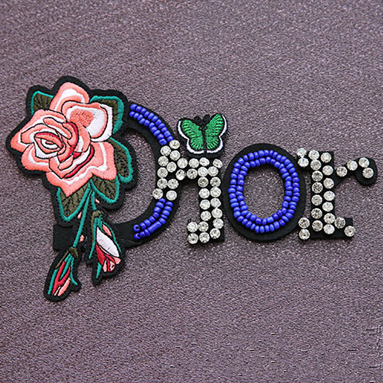 Large letter patch DIY costume decoration accessories plum flower bird embroidery flowers applique Nail bead patch