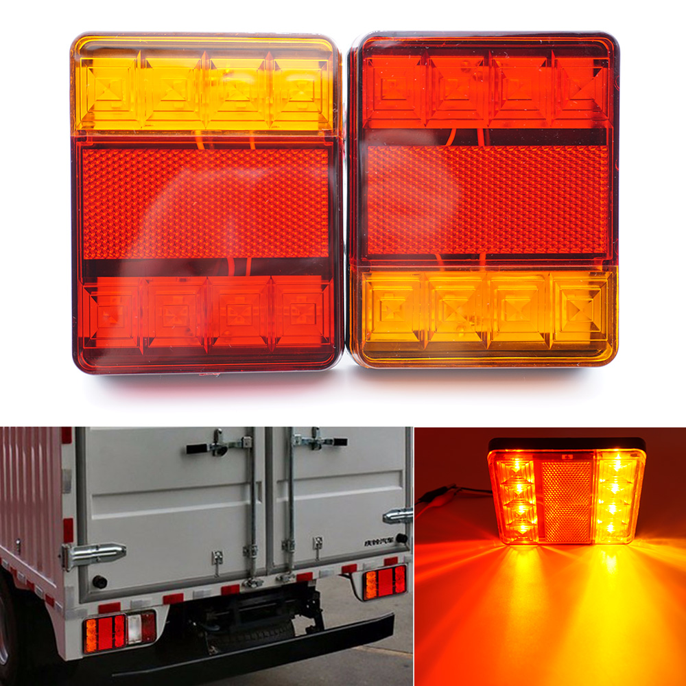 Pair 12V Waterproof Car Truck LED Rear Tail Light Warning Lights Rear Lamp for Trailer Caravans UTE Caravans Campers ATV Boats