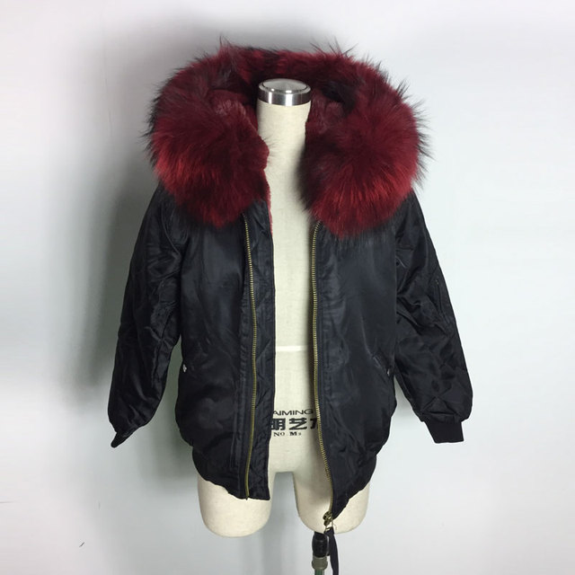 Spring and Winter Faux Fur Inside Bomber Jacket Black Bombers wine red Big Raccoon Collar Coat for Lady