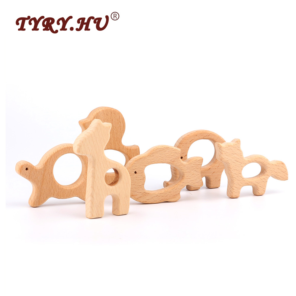 TYRY.HU Lovely Cartoon Wood Teether 1Pc Pure Natural Animal Shaped Baby Teething Nursing Wood Teether Baby Girl DIY Pendant Toys cartoon wood
